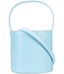 blue bissett leather bucket bag