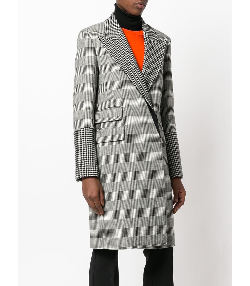 Stella McCartney Houndstooth Coat - Black/White Wool Blend Peacoat ...