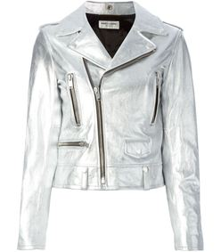 silver leather biker jacket