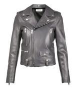 grey leather biker jacket