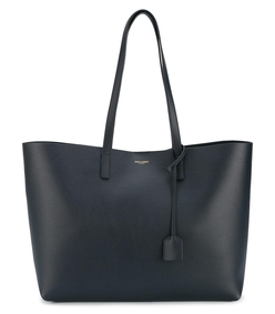 navy leather shopper tote bag