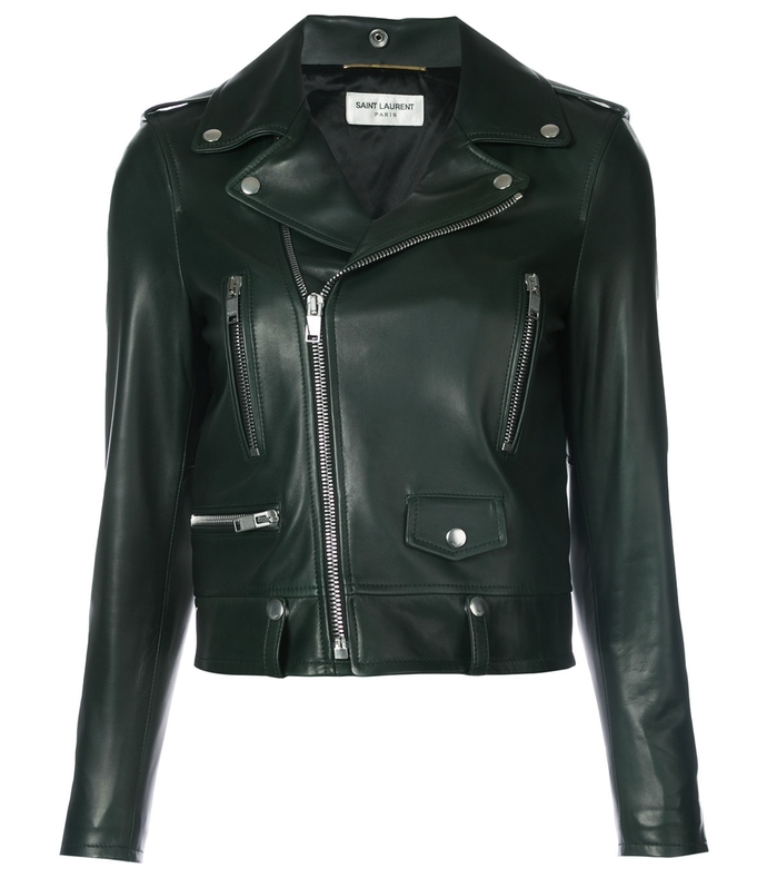 forest green classic motorcycle jacket