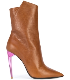 brown/pink ankle boot colored heel