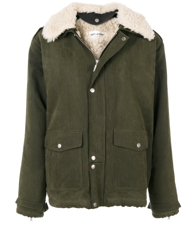 Green Shearling Collar Jacket