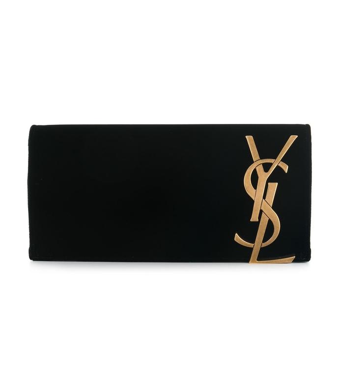 black velvet monogram clutch bag