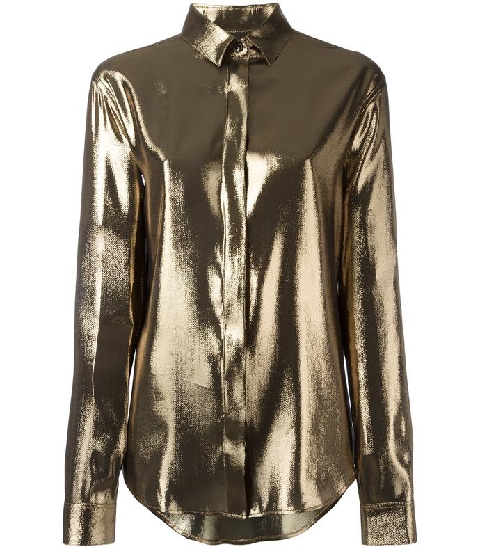 beige gold metallic meteorite shirt
