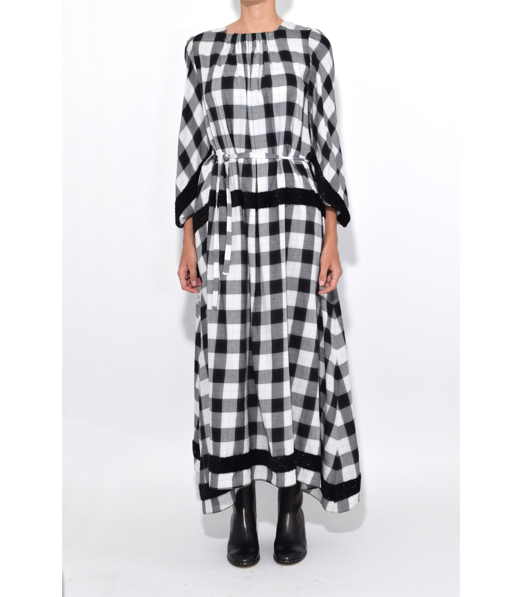 Tibi Boucle Plaid Maxi Dress - Black/Copper Dress