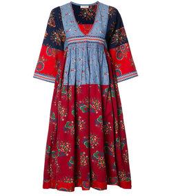 multi embroidered midi dress