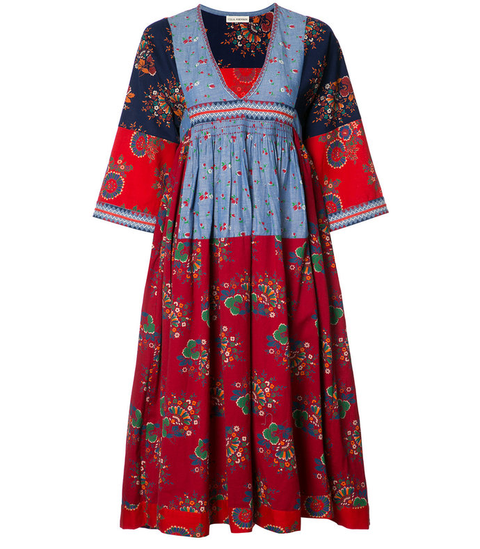 multi embroidered midi dress