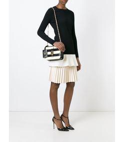 ShopBazaar Valentino Black & White Rockstud Chain Bag FRONT