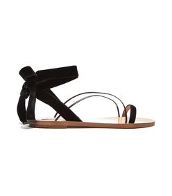 black velvet flat sandal