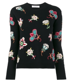 black multi floral embroidered sweater