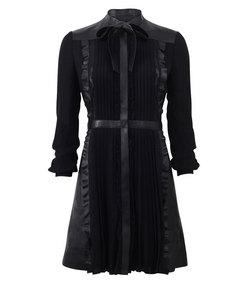 ShopBazaar Valentino Tie Neck Leather & Lace Dress MAIN