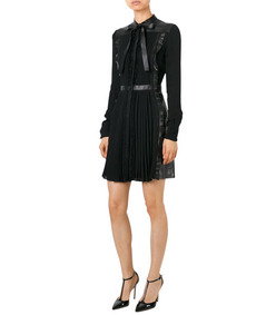ShopBazaar Valentino Tie Neck Leather & Lace Dress FRONT