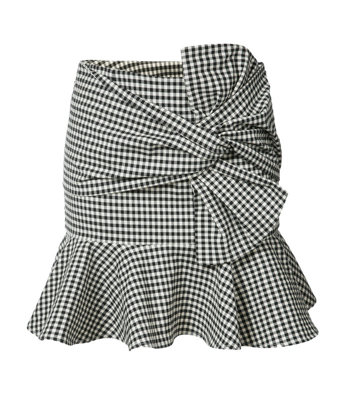 black & white gingham ruffle mini skirt
