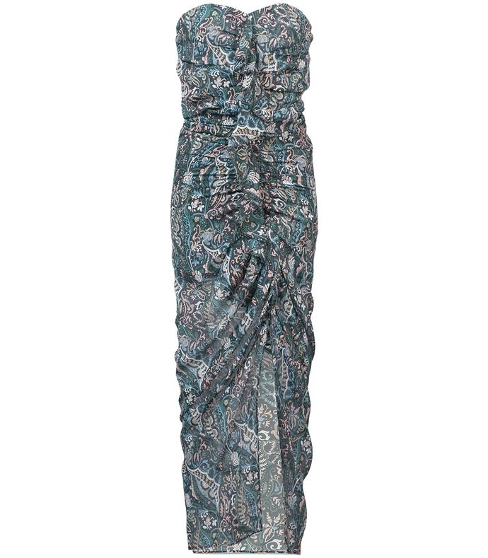 Blue Multicolor Peyton Ruffled Printed Silk-Chiffon Midi Dress VB36P42-BLM-0US