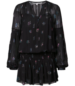 black multi embroidered shift dress