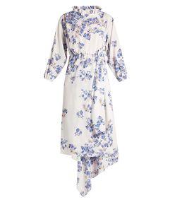 blue & white floral-print asymmetric dress