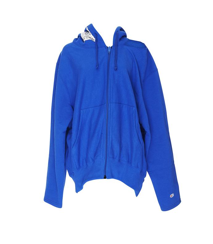 blue champion zip up sweatshirt