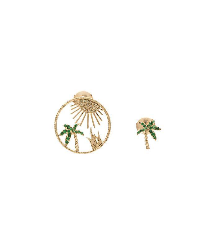 yellow gold palm tree sun earring