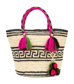 pink & green 'kolet' tassel rope tote bag