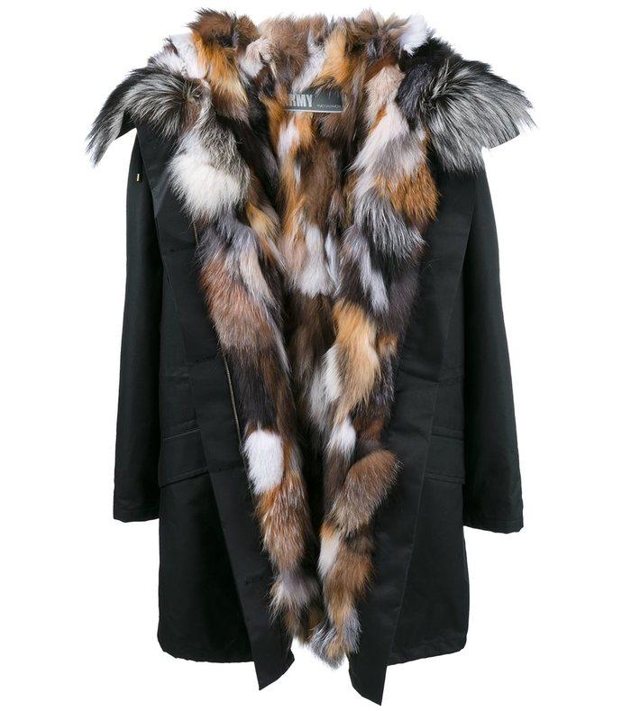 black & multi fox fur parka