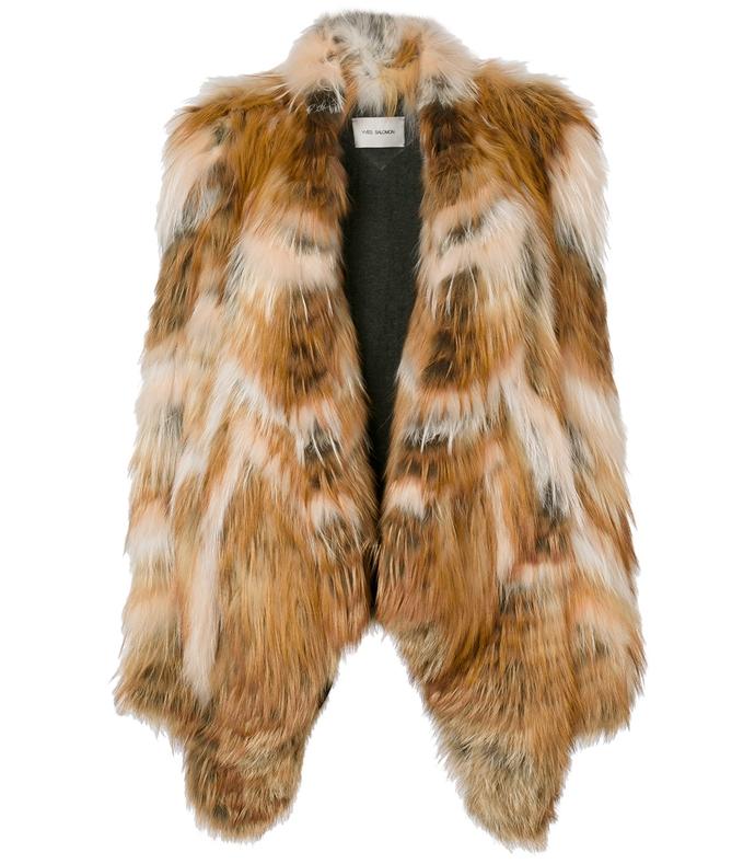 brown chevron patch coat
