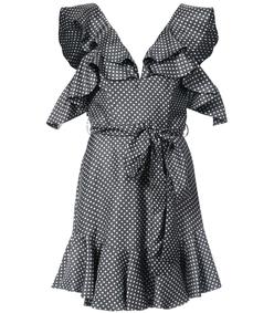 navy/white mini polkadot frill dress