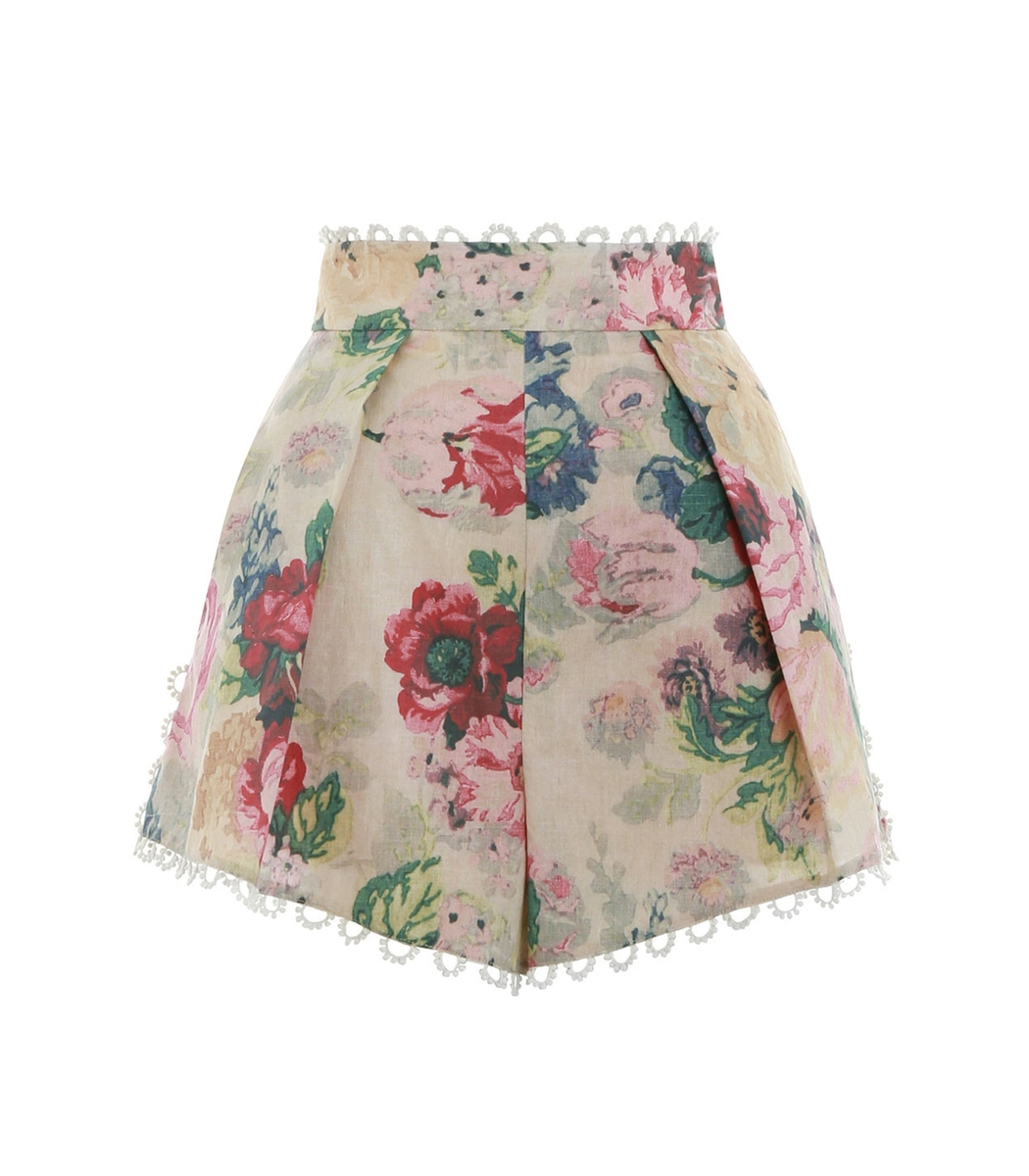 Taupe Floral Melody High Waist Short