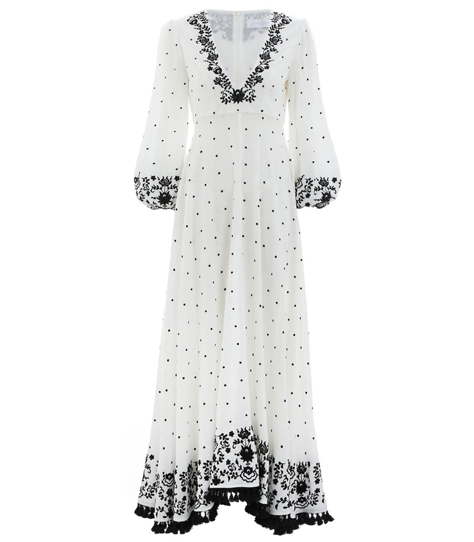 Ivory Tali Plunge Embroidered Dress 210000031407