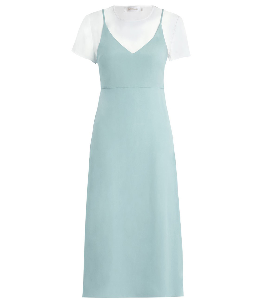 ZIMMERMANN FOAM TEE SLIP DRESS, BLUE,WHITE | ModeSens
