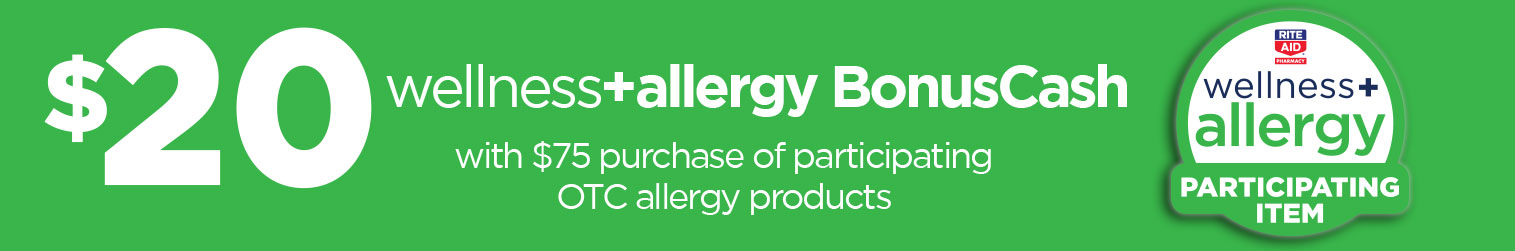 wellness+ Allergy Products, Earn $20 in BONUSCASH when you buy $75 of these products with card.