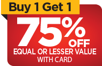 Buy One Get One 75% OFF regular retail with card