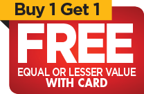 Buy One Get One FREE on regular retail with card