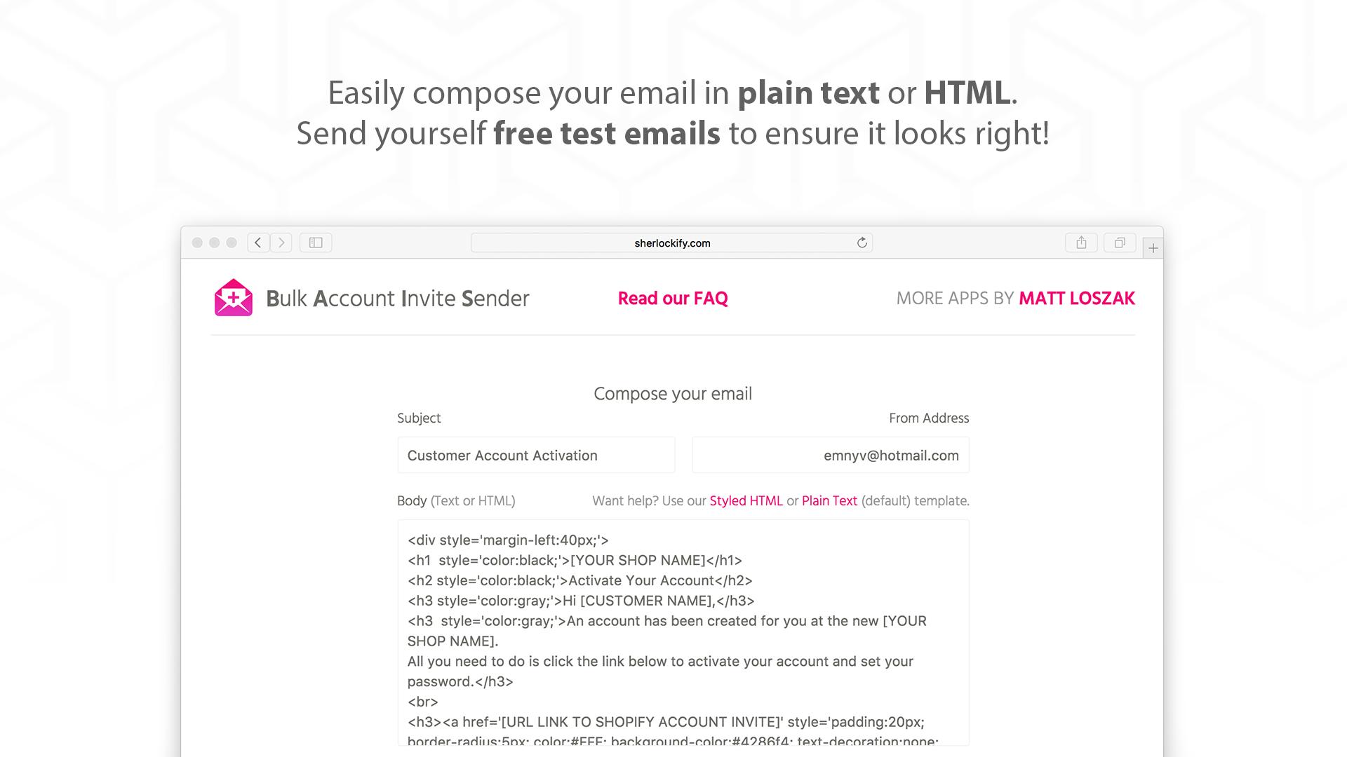 Shop customer account create/ - Screenshots