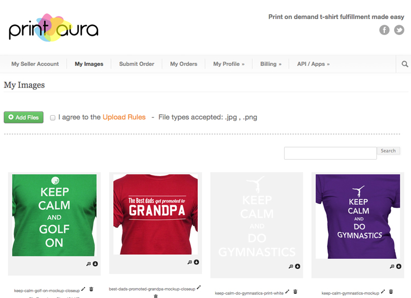 Print aura direct to garment dtg printing services for T shirt printing and fulfillment