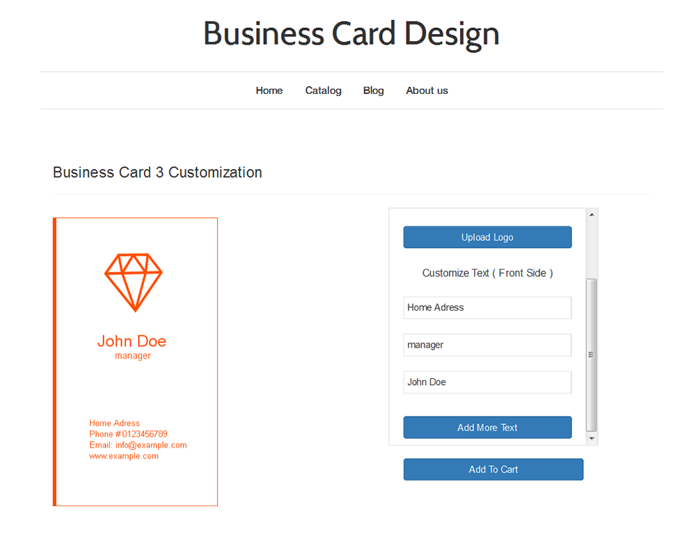 Business card design ecommerce plugins for online stores shopify screenshots reheart