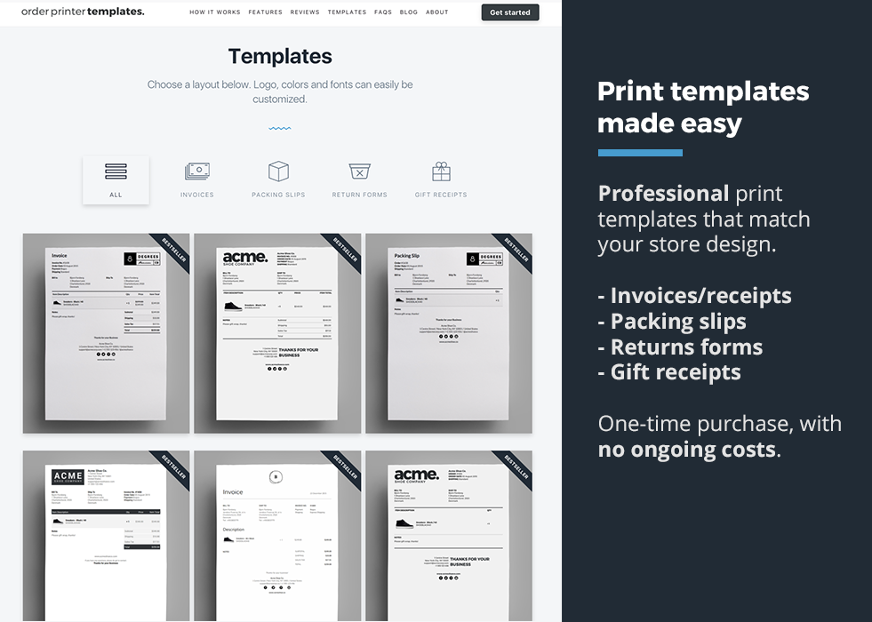 Order Printer Templates Ecommerce Plugins For Online Stores - Shopify invoice template