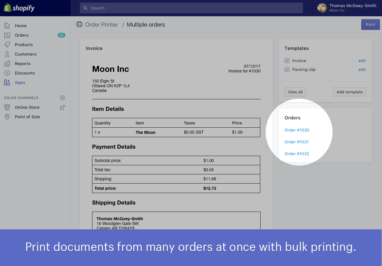 Order Printer - Shopify create invoice for service business