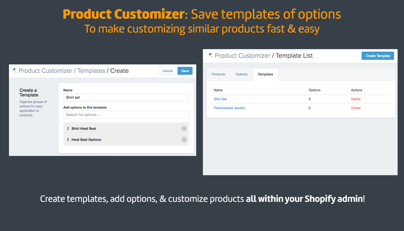 Product Customization Software For Online Stores - Shopify product template