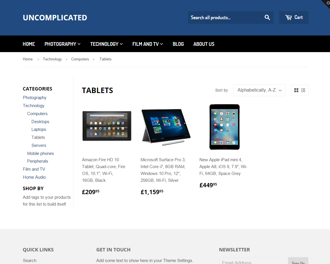 Found 5 products across 1 categories showing 1 5 products - Screenshots