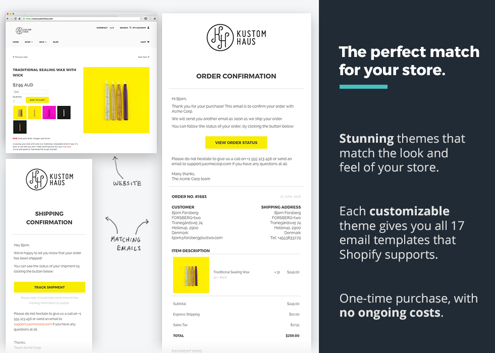 OrderlyEmails Customizable Email Templates Ecommerce Plugins For - Shopify store templates