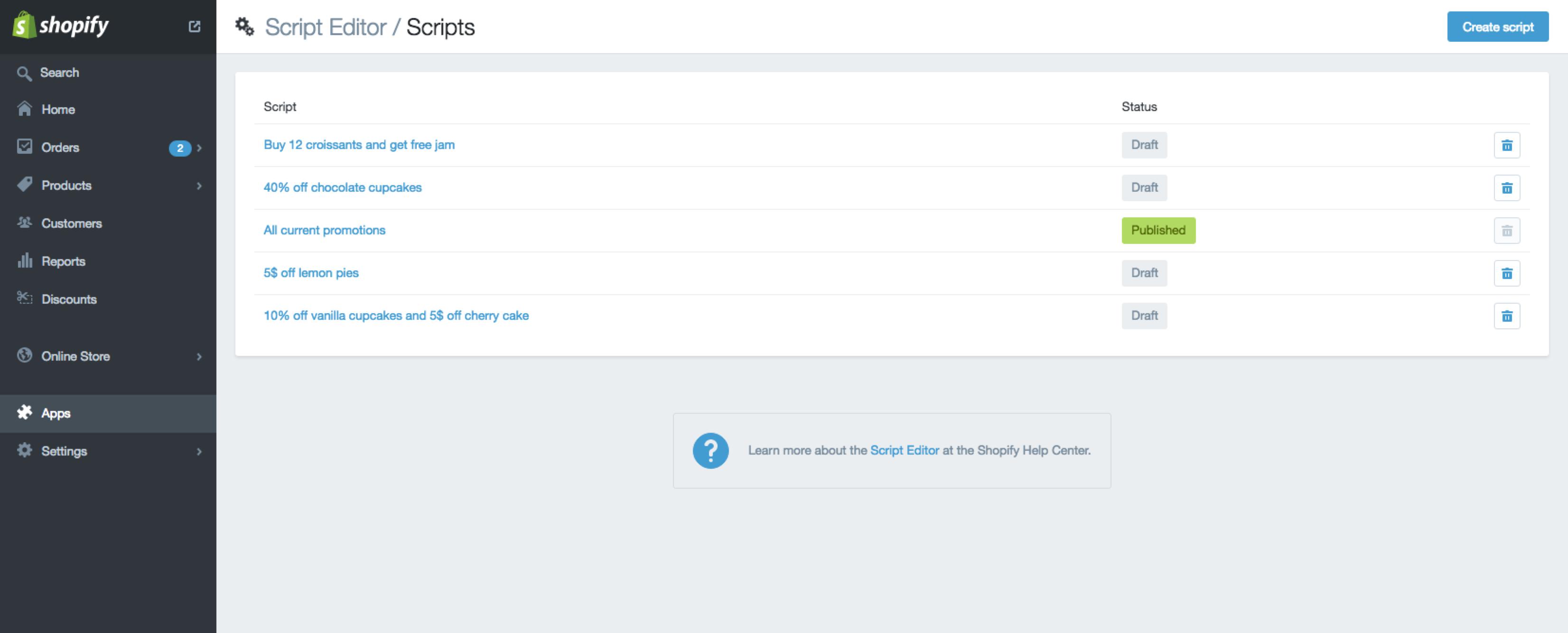 Script Editor - Shopify template editor