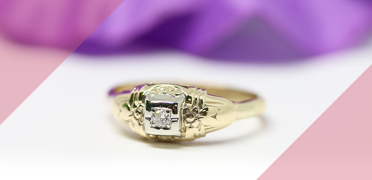 Retro Era Two-tone Diamond Ring