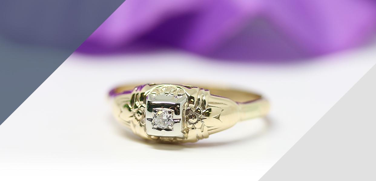 Retro Era Two-tone Diamond Ring