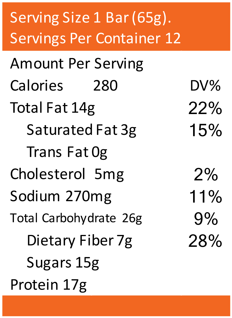 Chocolate Peanut Butter - 65g Nutritional Facts