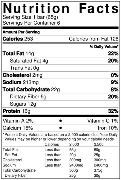 Best Bar Ever Chocolate Peanut Butter Nutritional Info