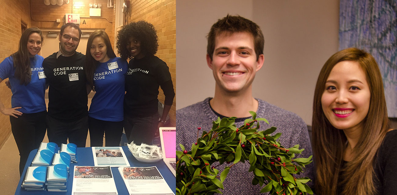 photo: left photo = 4 team members at event; right photo = male and female team members holding a wreath