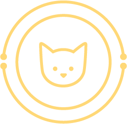 icon: simple cat face; surrounded by circuitry-inspired circles