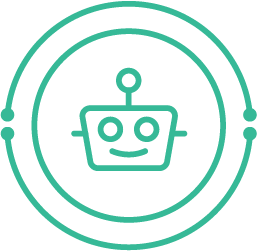 icon: friendly robot face; surrounded by circuitry-inspired circles